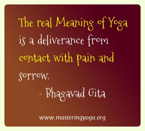 Bhagavad Gita Yoga Quotes  - The real Meaning of Yoga is a deliverance from contact with